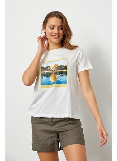 Setre Mint Baskılı Kısa Kol T-Shirt Ekru